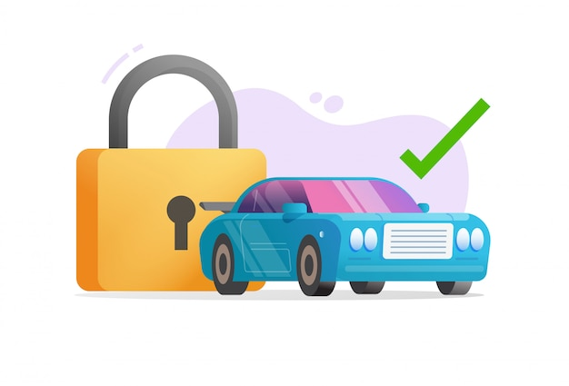 Car or vehicle protected with padlock security or automobile secure anti theft technology idea  illustration