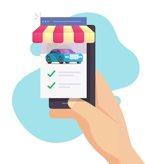 Car vehicle rental mobile phone store with comparing auto and choosing features online shop website