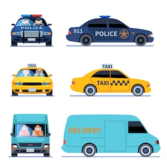 Car view. delivery truck, police automobile and taxi auto side front viewing isolated urban drivers set