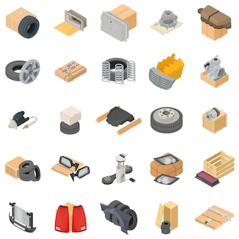 Car warehouse icon set