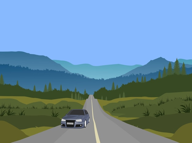 The car was driving on a highway through a forest with mountains and sky in the background.