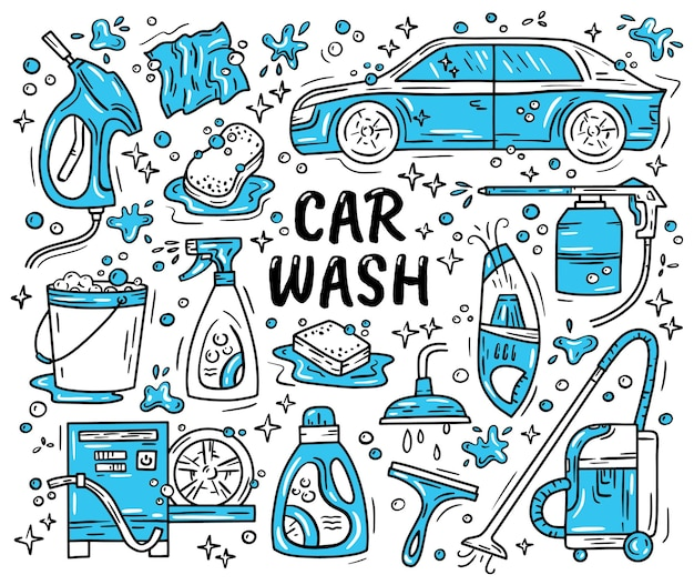 Автомойка и детализированный набор иконок в стиле doodle