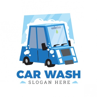 Car wash cartoon logo design