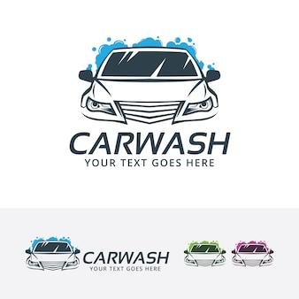 Car wash center vector logo template