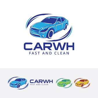 Car wash and cleaning vector logo template