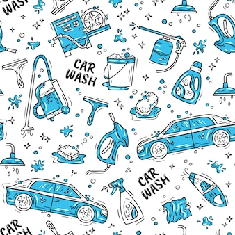 Car wash and detaling seamless pattern with icons