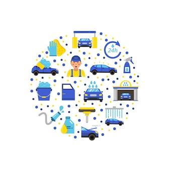 Car wash flat icons in circle