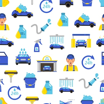 Car wash flat icons pattern , automobile service concept, vehicle station auto