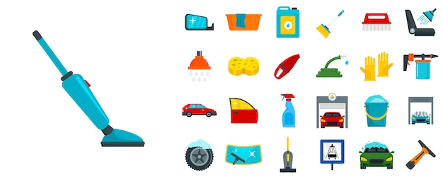 Car wash icon set