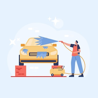 Car wash illustration. a man has washes car with soap and water by high pressure pump. illustration in flat style