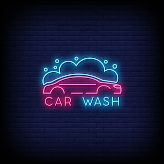 Car wash neon signs style text