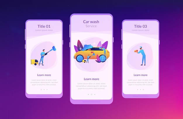 Car wash service app interface template