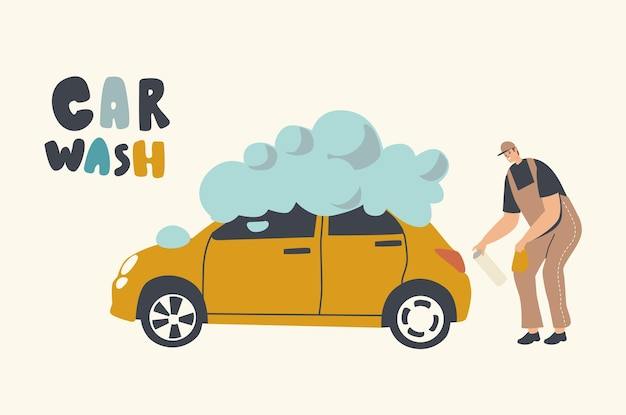 Car wash service on auto station illustration. worker character wearing uniform wiping out automobile with sponge