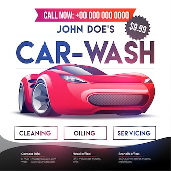 Car wash service banner, poster, flyer or rate card design for your business.