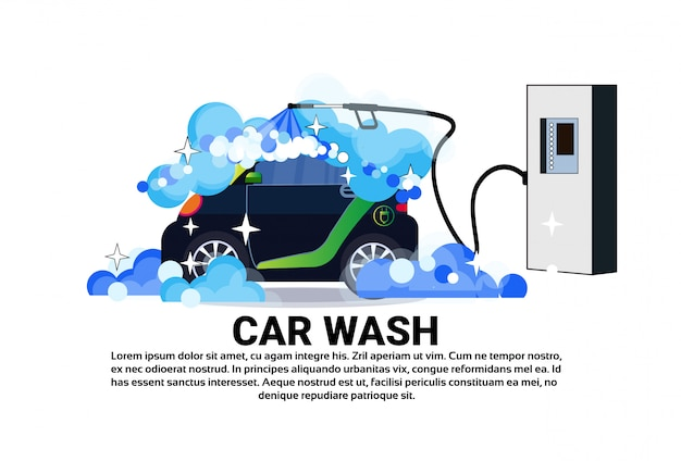 Car wash service banner with cleaning vehicle