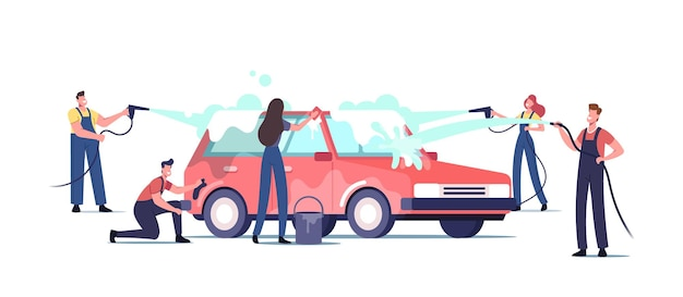 Car wash service concept. workers characters wearing uniform lathering automobile with sponge and pouring with water jet. cleaning company employees at work process. cartoon people vector illustration