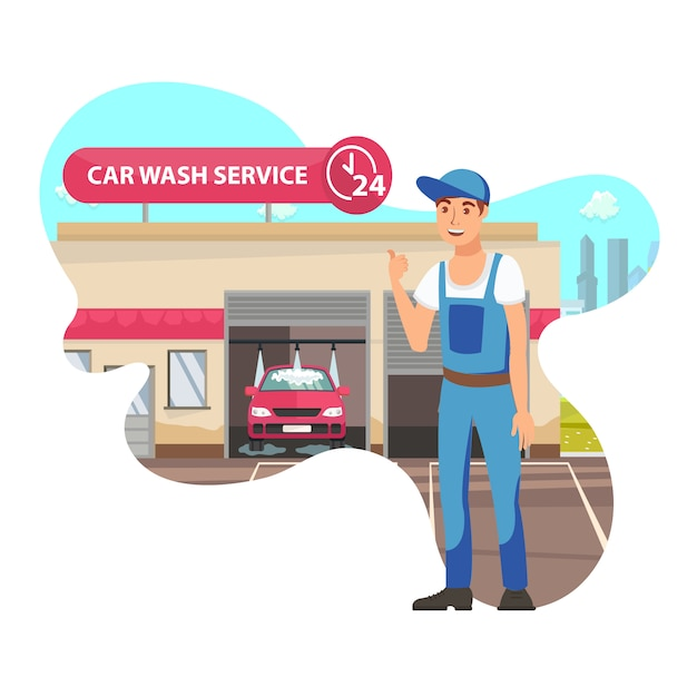 Car wash service flat vector isolated illustration