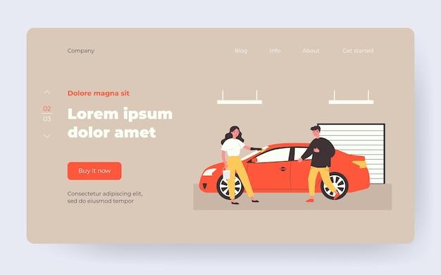 Услуги автомойки. женщина, протирающая автомобиль с тканью в гараже, мужской водитель плоский векторные иллюстрации. транспорт, обслуживание, концепция очистки для баннера, дизайна веб-сайта или целевой веб-страницы