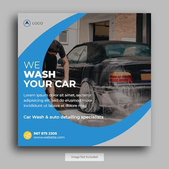 Пост в социальных сетях car wash, шаблон поста в instagram