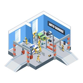 洗車。ガレージ内部ベクトル等尺性車と人々の自動車整備修理と清掃サービスの整備士。イラスト洗車サービス、自動車用ガレージワークショップ