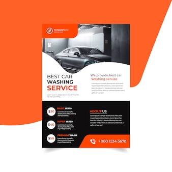 Car washing flyer design template