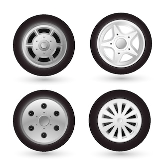 Car wheel icon set