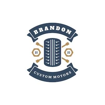 Элемент дизайна логотипа автомобильного колеса в винтажном стиле