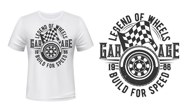 Car wheel and racing checkered flag t-shirt  print. sport car spire tire and start, finish flag illustration and typography. racing automobiles garage station apparel custom print