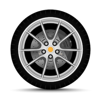 Car wheel. tire with brake