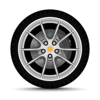 Колесо автомобиля. шина с тормозом
