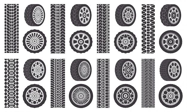 자동차 휠 타이어. 트랙 흔적, 자동차 휠 림, 자동 차량 트레드 트랙. 고무 바퀴 타이어 기호 그림을 설정합니다. 고무 실루엣 타이어, 고속 운송 인쇄