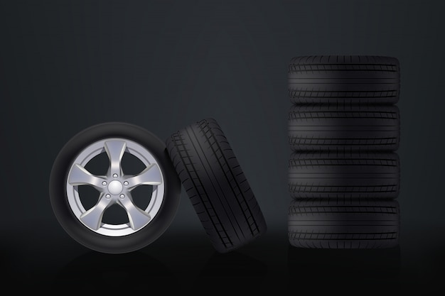 Car wheels on dark
