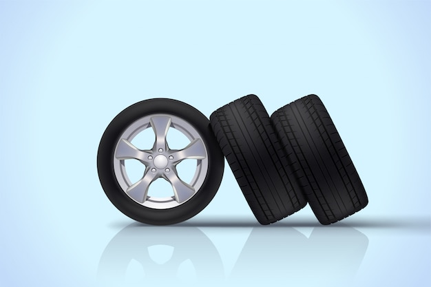 Car wheels group on blue