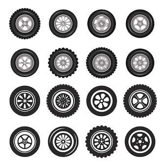 Car wheels icons detailed photo realistic vector set.