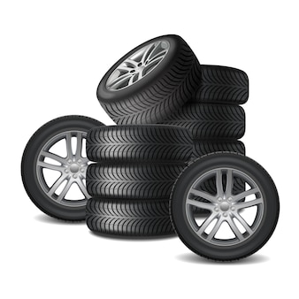 Car wheels realistic design concept