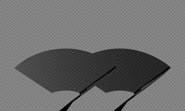 Car windscreen wiper glass illustration or wiper cleans the dirty