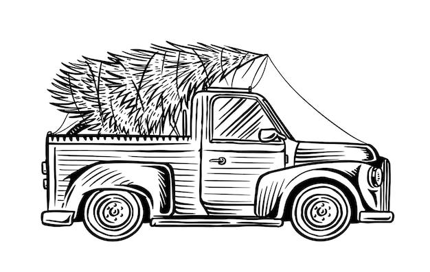 白で隔離のクリスマスツリーと車