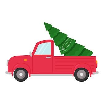 屋根にクリスマスツリーが付いている車。