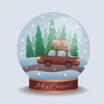 Car with christmas gifts inside a crystal ball