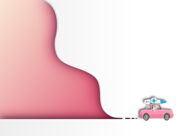 Car with curve background.paper art style