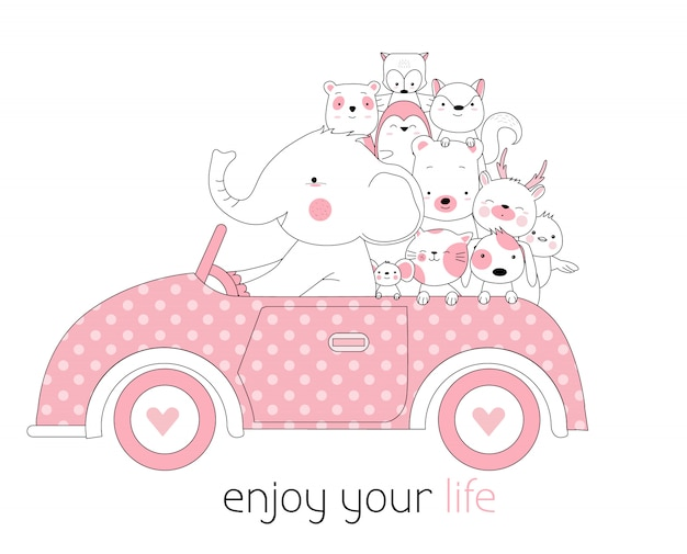 Car with cute animals cartoon hand drawn style