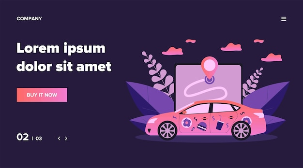 Car with food stickers. restaurant courier vehicle, location app, address   illustration. service, food delivery, online order concept for banner, website  or landing web page