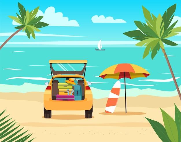 ビーチで荷物を持って車。フラットスタイルのイラスト