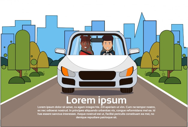 Car with man and woman on road over silhouette city background