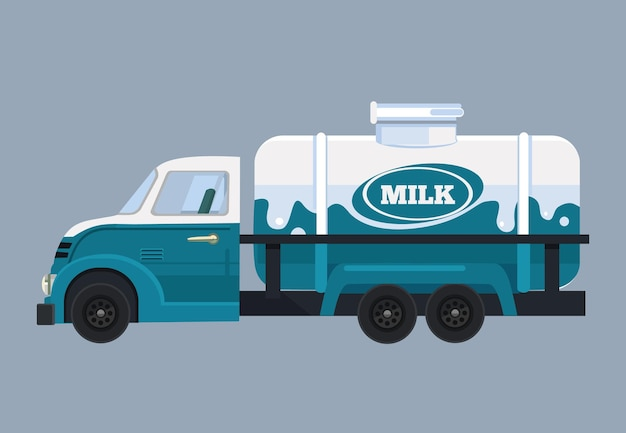 ミルク付きの車。フラット漫画イラスト