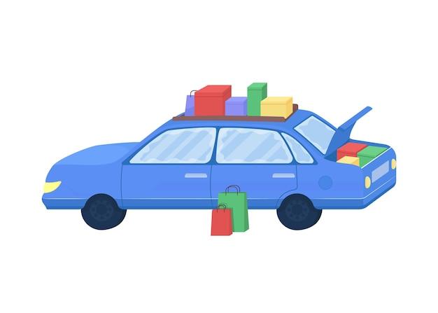 購入した商品フラットカラーベクトルオブジェクトを持つ車。季節限定セールのバッグ付きオート。家族の買い物のための自動車孤立した漫画