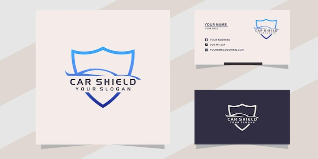 Car with shield logo template
