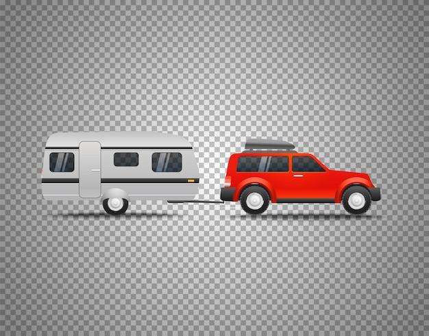 Автомобиль с прицепом, изолированные на прозрачном фоне.