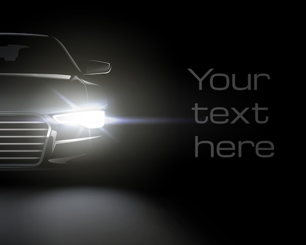 Car with white headlights. realistic composition of night scenery and stylish automobile headlights with space for text
