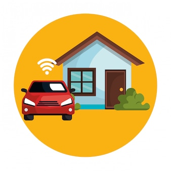 Car with wifi signal and house